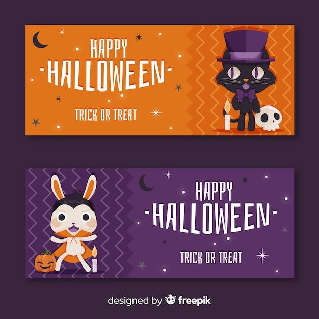 Cute animal set of halloween banners Free Vector