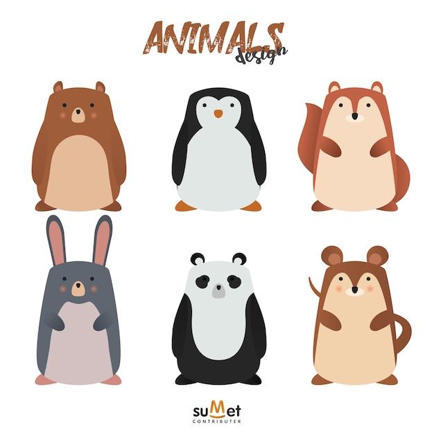 Cute animal set Premium Vector
