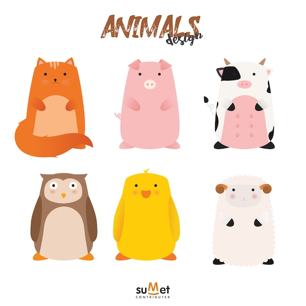 Cute animal set Premium Vector
