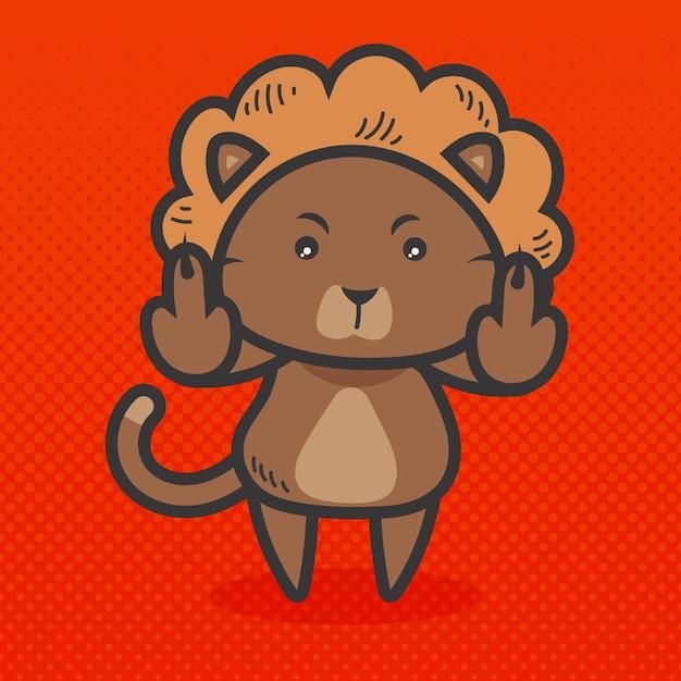 Симпатичное животное, показывающее, трахни тебя символ Premium векторы