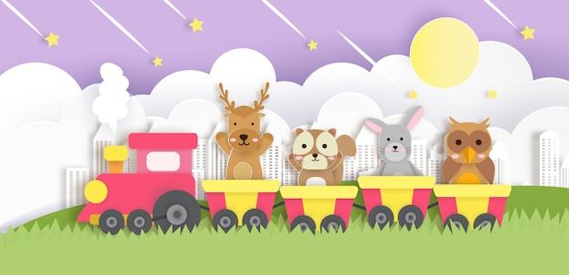 Милые животные, сидя на поезде в стиле вырезать из бумаги. Premium векторы
