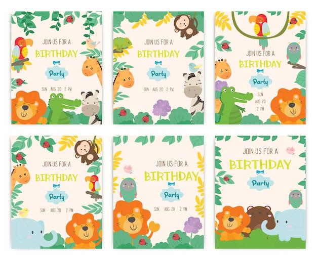 Cute animal theme birthday party invitation card vector. Premium Vector