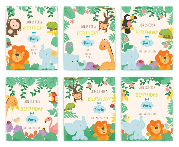 Cute animal theme birthday party invitation card vector. Premium Vector