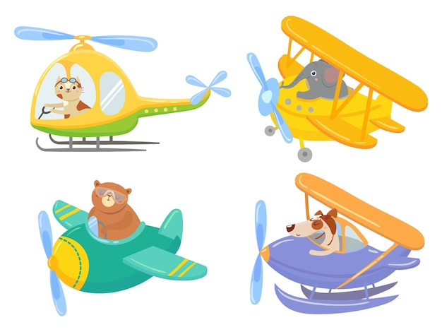 Cute animals on air transport. animal pilot, pet in helicopter and airplane journey kids. aircraft v