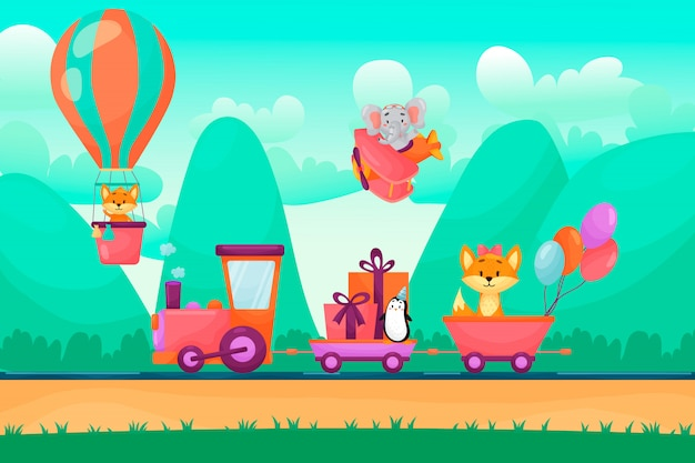 Cute animals are going on train to birthday party. animals flying on air balloon and plane in mountains. Premium Vector
