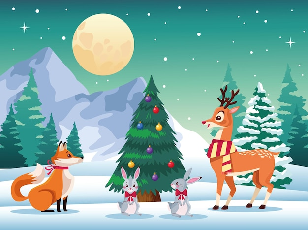Милые животные вокруг елки на снежном пейзаже Premium векторы