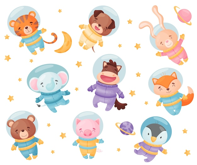 Cute animals in astronaut costumes. tiger, dog, elephant, hare, horse, fox, bear pig penguin  illustration on white background Premium Vector