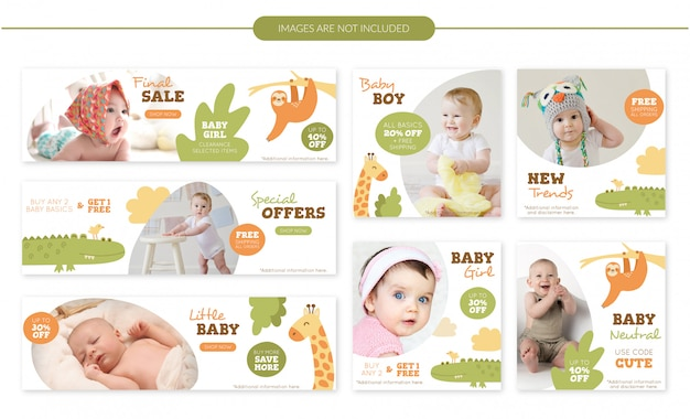 Cute animals baby sale banners set Premium Vector