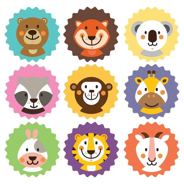 Cute animals badges Premium Vector