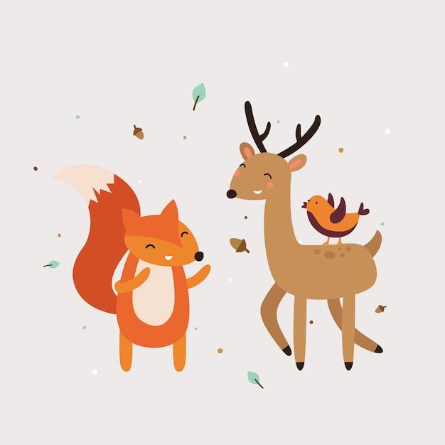 かわいい動物のベストフレンドのベクトル図 Premiumベクター