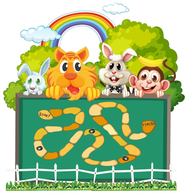 Cute animals board game template Premium Vector