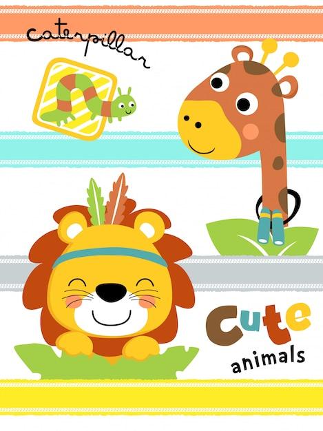 Cute animals cartoon in colorful stripe Premium Vector