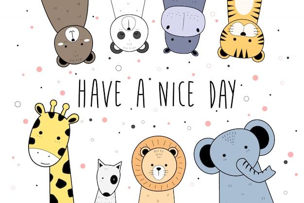 Cute Animals Cartoon Doodle Banner Background Wallpaper Premium Vector