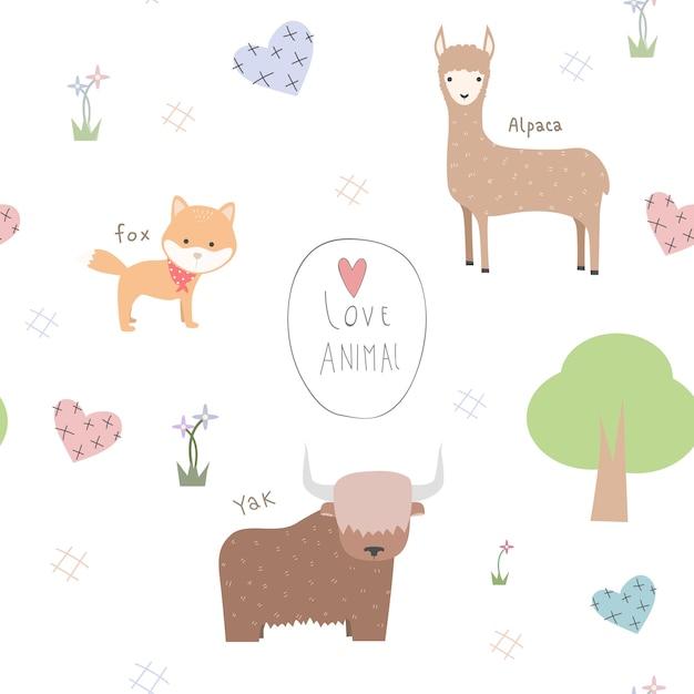 Cute animals cartoon doodle seamless pattern Premium Vector