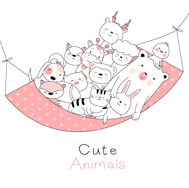 Cute animals cartoon hand drawn style Premium Vector