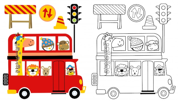 赤いバスのかわいい動物漫画 Premiumベクター