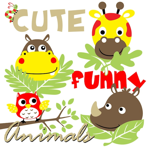 Cute animals cartoon vector Premium Vector