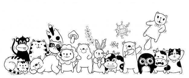 かわいい動物-猫、クマ、牛、ウサギ、サル、フクロウ、ニンジン、キノコ、かわいいスタイルの花。 Premiumベクター