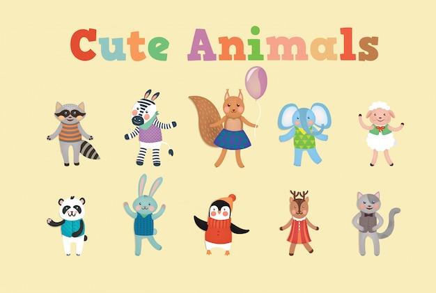 Cute animals for children party Premium Vector
