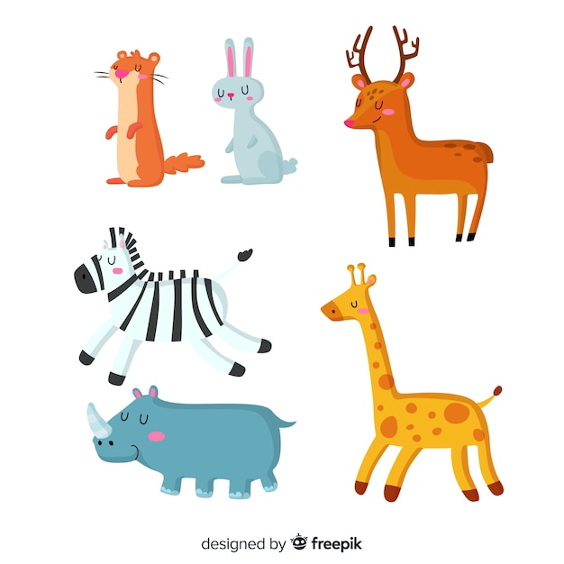 Cute animals in children's style collection Free Vector
