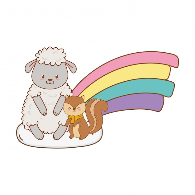 Cute animals in the clouds with rainbow woodland characters Premium Vector