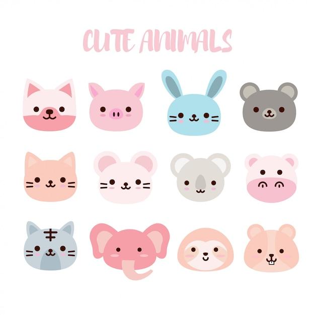 Cute animals collection Premium Vector