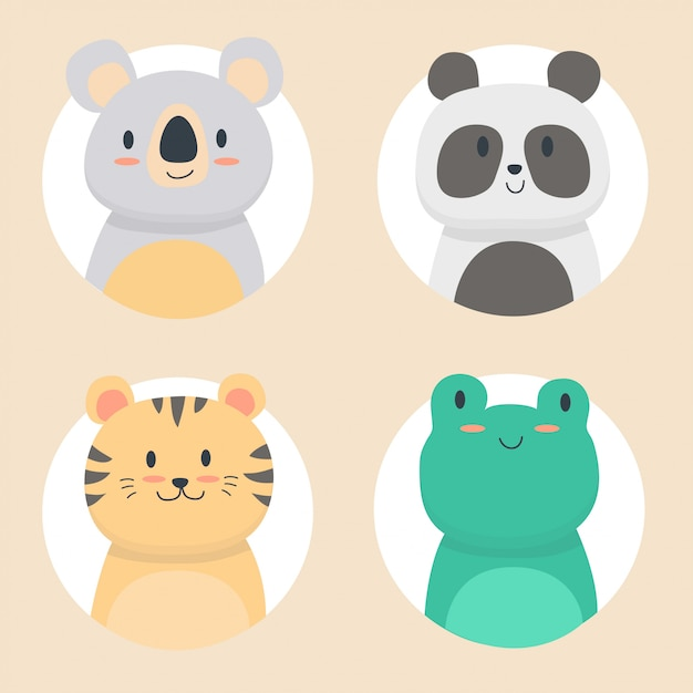 Cute animals collection Premium Vector