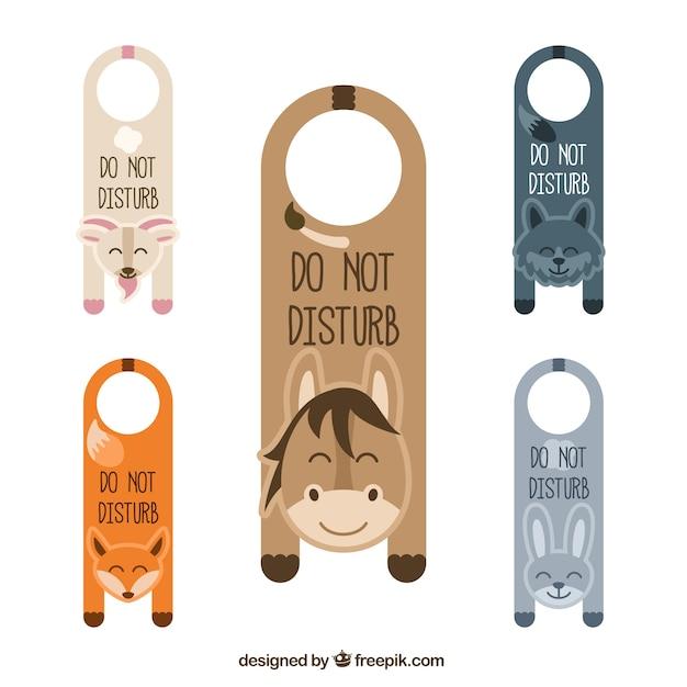 cute animals door hangers vector free download