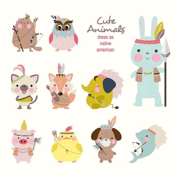 Cute animals dress as native american Premium Vector
