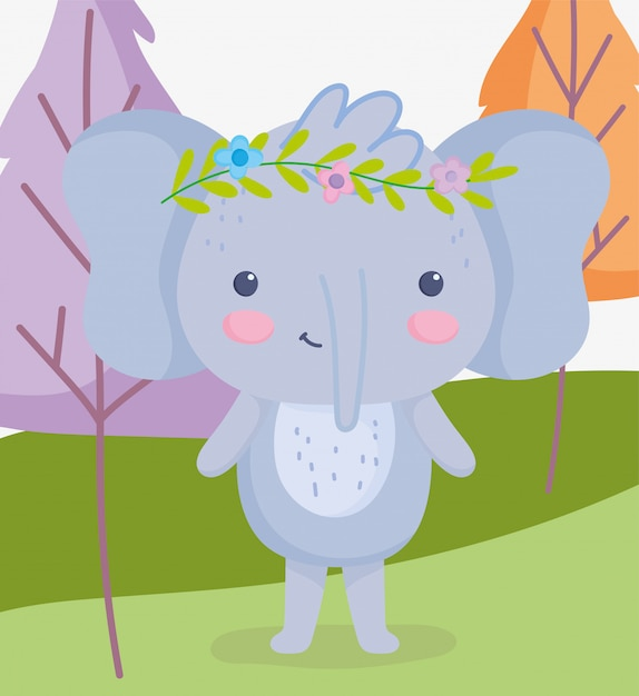 Cute animals elephant with flowers in head grass trees cartoon Premium Vector