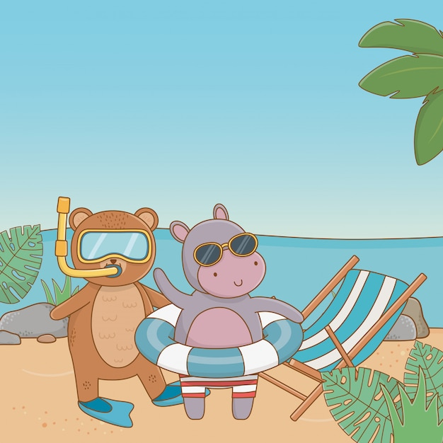 Cute animals enjoying summer vacations Free Vector