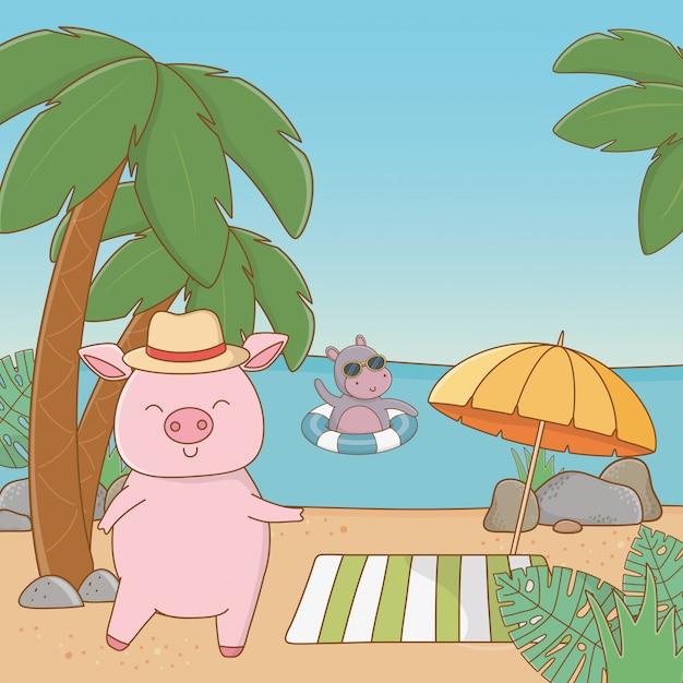 Cute animals enjoying summer vacations Free Vector