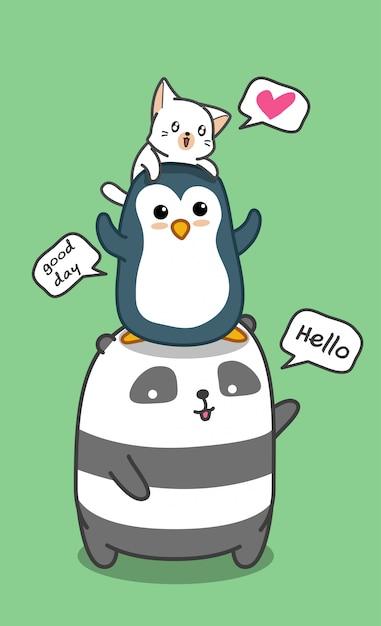 Cute animals family. Premium Vector