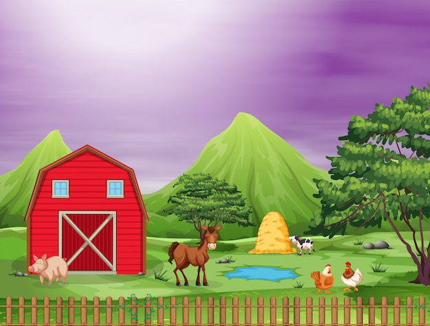 Cute animals on a farm Free Vector