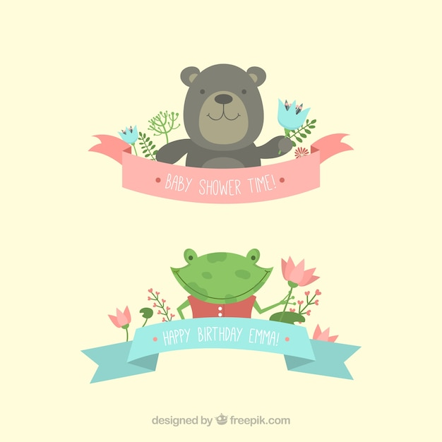 Cute animals for baby shower invitation vector free download cute animals for baby shower invitation free vector stopboris Images