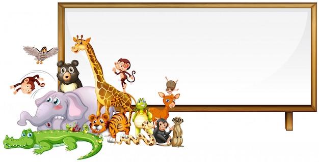 Cute animals frame Free Vector