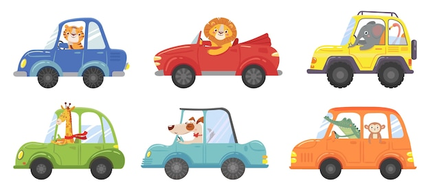 Cute animals in funny cars. animal driver, pets vehicle and happy lion in car kid. transportation animals or lion and dog character travel in cars. isolated vector cartoon illustration icons set Premium Vector