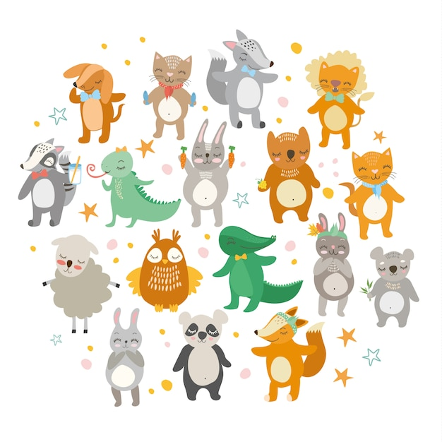 Cute animals, funny zoo, lion, cat, crocodile, fox, dog, owl, sheep, bear, hare. Free Vector
