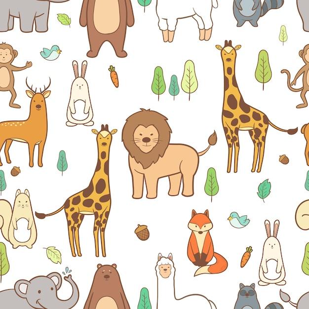Cute animals hand drawn seamless pattern background Premium Vector