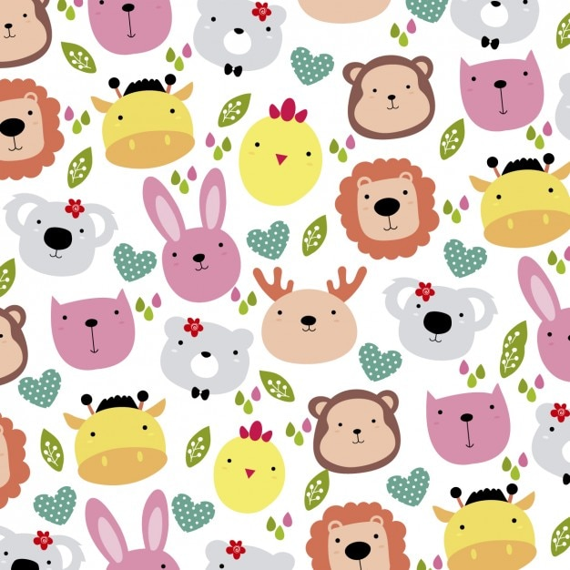 Cute Animals Head Background Vector
