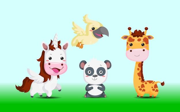 Милые животные, лошадь-единорог, панда, птица, жираф из зоопарка иллюстрации Premium векторы