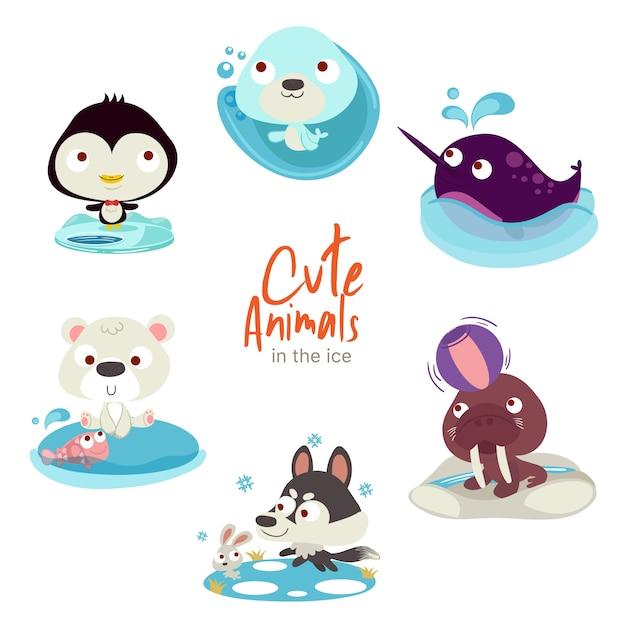 Cute animals on ice Premium Vector