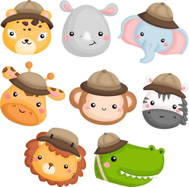 Icone di simpatici animali con costume da safari Vettore gratuito