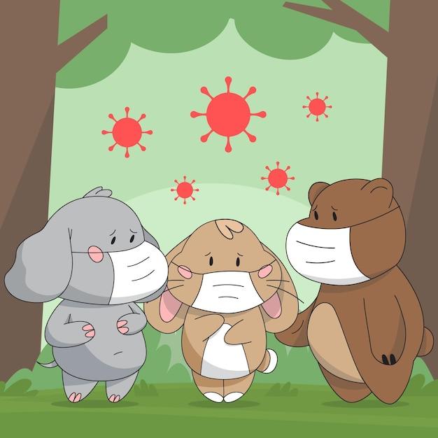 Милые животные во время коронавируса Бесплатные векторы