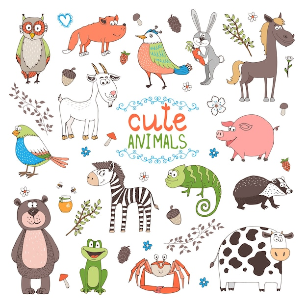 Cute animals isolated on white background Free Vector
