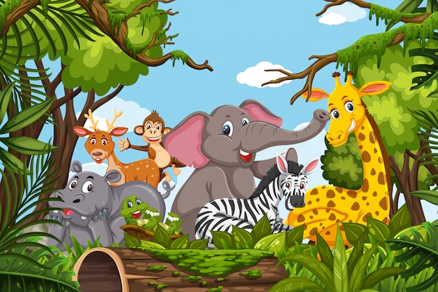 Cute animals in jungle scene Premium Vector