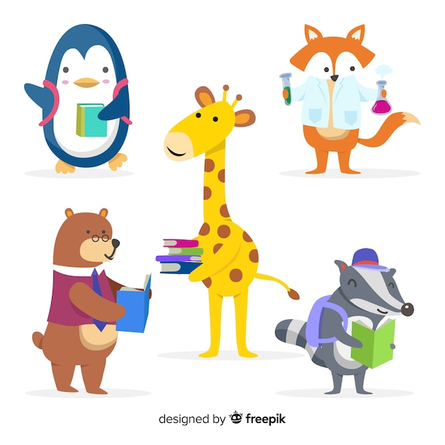 Cute animals learning collection Free Vector