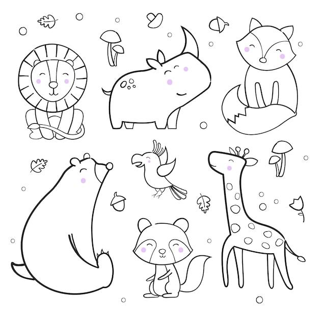 Cute animals outline vector collection Premium Vector