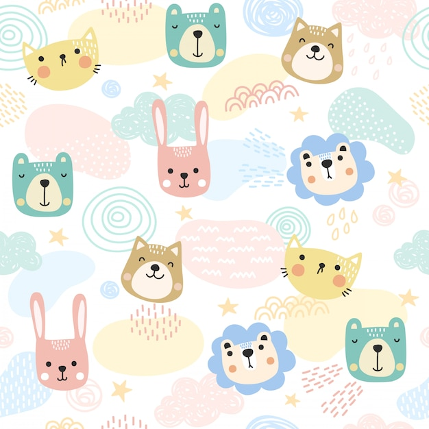 Cute animals pattern background. Premium Vector