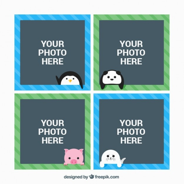 Cute animals photo frames Free Vector